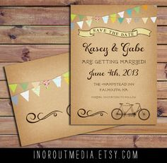 Bunting Save the Date (by In Or Out Media via EmmalineBride.com - The Marketplace) #handmade #wedding