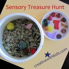 """DIY Sensory Treasure Hunt bin - given as a birthday gift, includes how to make a """"picture key"""" to the treasures."""