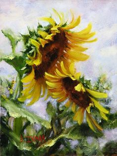 7 Easy Steps You Need To Paint A Dazzling Sunflower Field 7 Steps To Paint A Dazzling Kansas Sunflower Field Master Oil Painting Simple Oil Painting, Oil Painting For Sale, Oil Painting Flowers, Watercolor Flowers, Painting Steps, Painting Clouds, Paint Flowers, Painting Lessons, Impressionist Landscape