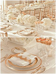 Wedding ● Tablescape  ● Rose Gold & White; I like this table setting though it doesn't have to be rose gold.