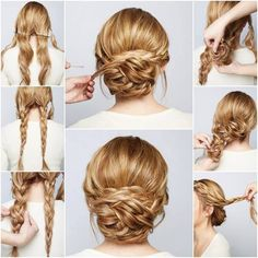 DIY Braided Chignon hair long hair braids how to diy hair hair tutorial hairstyles hair tutorials easy hairstyles - Hair Styles Braided Chignon, Chignon Hairstyle, Hairstyle Ideas, Low Updo, Braided Buns, Hairstyle Tutorials, Updo Diy, Makeup Hairstyle, Twisted Updo