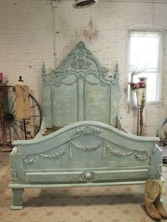 Shop for Etsy French Bed Painted Cottage Shabby Chic French Aqua Romantic King / Queen Bed at ShopStyle. Shabby Chic Furniture, Vintage Furniture, Painted Furniture, Cottage Shabby Chic, Shabby Chic Decor, French Bed, French Chic, Painted Cottage, Headboards For Beds