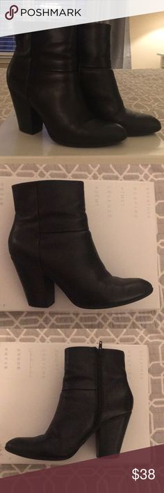 Nine West Black Heeled Boots - GUC - size 9.5 I picked up these boots at the start of the fall and wore them about 10 times before switching to a wedge boot.  They're the 'Hiswayo' model from the Fall 2017 collection.  They're still in great condition overall, but have a bit of wear and tear on the soles and heels (in pics).  Heel is about two inches (at the lowest part of the heel), and boot goes up past your ankle, with a side zip.  Size is 9.5 M.  Will wrap and ship in a GEOX shoe box…