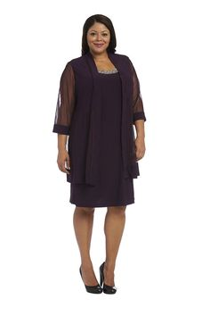 R&M Richards Short Formal Mother of the Bride Plus Size Dress