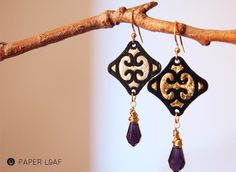 Ghada | handmande papercut earrings with faceted purple glass briolette