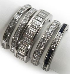 Antique and vintage channel-set diamond eternity bands in platinum