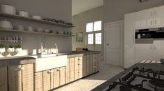 Moderne robuuste #keuken #mooi contrast met #gietvloer.