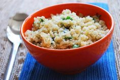 Easy Quinoa Recipe   (Quinoa is a seed)  1 cup uncooked quinoa  1 1/2 cups water  1/2 teaspoon salt  2 tablespoons extra-virgin olive oil  2 garlic cloves, minced  1/4 teaspoon freshly ground black pepper  1/4 cup finely chopped fresh basil  1/4 cup finely chopped fresh cilantro