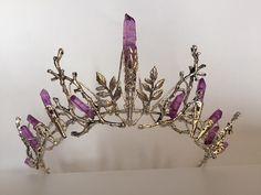 De INDIE Crown - paarse kwarts en blad Crystal kroon Tiara - Bridal ritueel, hoofdtooi, Festival, Halloween, Prom