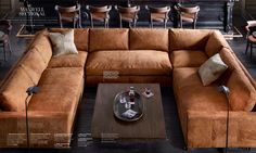 Restoration Hardware Sectional in Italian Destroyed Leather