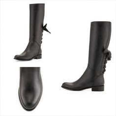 VALENTINO Ascot Ribbon Lace-Up Riding Boot, Black