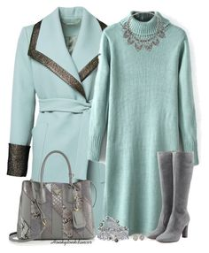 #Farbbberatung #Stilberatung #Farbenreich mit www.farben-reich.com Mint And Grey Coat by honkytonkdancer on Polyvore featuring мода, L'Autre Chose, Prada, Miss Selfridge, Palm Beach Jewelry, Penny Preville, Kenneth Jay Lane, sweaterdress, pradabag and mintandgrey