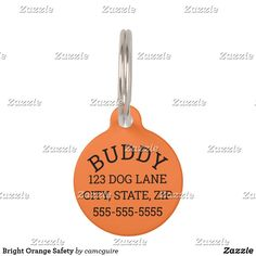 Shop Bright Orange Safety Pet ID Tag created by camcguire. Customizable Gifts, Customized Gifts, Holiday Cards, Christmas Cards, Custom Pet Tags, Pet Id Tags, Pet Names, Pet Gifts, White Elephant Gifts