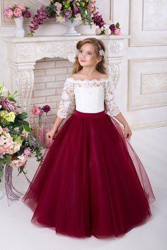 Burgundy Flower Girls Dresses for Weddings 2018 Off Shoulder Long Sleeves Puffy Tulle Girls Party Pageant Dress Red Flower Girl Dresses, Dress Flower, Tulle Flower Girl, Little Girl Dresses, Lace Dress, Dress Red, Burgundy Dress, Dress Long, Gown Dress