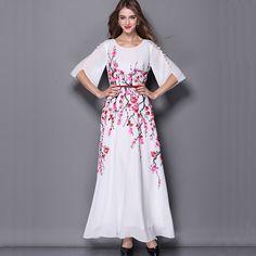 New 2015 High-end Women Dress Silk Summer Floral Print Chiffon Dresses Half Sleeve Ankle-Length Long Maxi Dress Vestidos