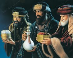 The Three Wise Men or The Magui We really don't know the names of the magi because the Bible doesn't tell us. Pictures Of Christ, Temple Pictures, Bible Pictures, Art Pictures, Christian Paintings, Christian Art, Lds Art, Bible Art, Arte Lds