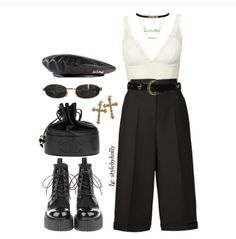 A fashion look from July 2017 featuring Topshop tops, high-waisted pants and black ankle booties. Browse and shop related looks. Fall Outfits, Casual Outfits, Summer Outfits, Pretty Outfits, Beautiful Outfits, Polyvore Outfits, Look Fashion, Fashion Outfits, Womens Fashion