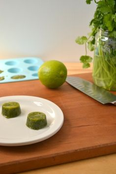 Make your own lime cilantro cubes. Freeze cilantro with lime juice and use them in salsas, soups, or wherever you would use cilantro and lime.