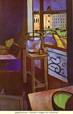 Henri Matisse. Interior with a Bowl with Red Fish. 1914. Oil on canvas. Musée National d'Art Moderne, Centre Georges Pompidou, Paris, France. Olga's Gallery.