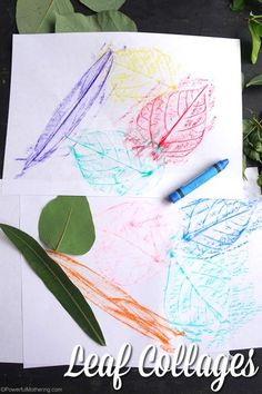 Make these lovely leaf collages after a walk where leaves were collected! Great idea to explore texture of leaves. Preschoolers will enjoy this. #leaf #leaves #crayonrubbing Kids Wedding Activities, Thanksgiving Activities For Kids, Activities For Girls, Christmas Activities For Kids, Fun Crafts For Kids, Preschool Crafts, Preschool Printables, Creative Activities, Nature Crafts