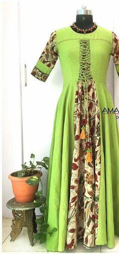 kalamkari new style Pakistani Dresses, Indian Dresses, Indian Outfits, Ethnic Fashion, Indian Fashion, Kalamkari Dresses, Churidar Designs, Western Dresses, Indian Designer Wear