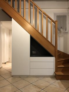 - Stairway Designs & Ideas - meuble sous escalier custom layout under stairs, dressing room, three drawers and open niche. Staircase Storage, Staircase Design, Interior Design Living Room, Interior Decorating, Hallway Decorating, Diy Understairs Storage, Small Space Interior Design, Bohemian Wall Decor, Stair Decor