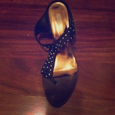 Valenti Franco Slide Brown satin sandal with rhinestones. Never worn. Kitten heel Valenti Franco Shoes