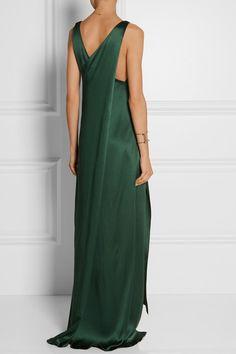 Rosetta Getty emerald silk-satin gown.