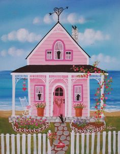Rosas y dulces Folk Art Print por KimsCottageArt en Etsy, $12.95