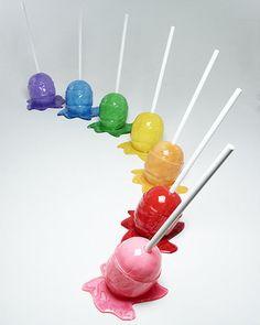 Colorful melting lollipops