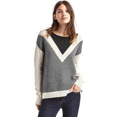 Gap Women Merino Wool Blend Colorblock V Stripe Sweater ($56) ❤ liked on Polyvore featuring tops, sweaters, regular, snow cap, round neck sweater, color-block sweater, colorblock top, color block tops and gap sweaters