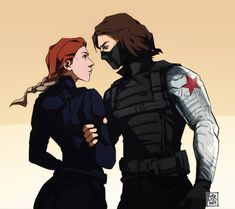 Bucky and Nat [Winter Soldier x Black Widow] by darwh on DeviantArt Marvel Fan Art, Marvel Avengers, Marvel Women, Bucky Barnes, Capitan America Winter Soldier, Winter Soldier Wallpaper, Black Widow Wallpaper, Sebastian Stan, Black Widow Aesthetic