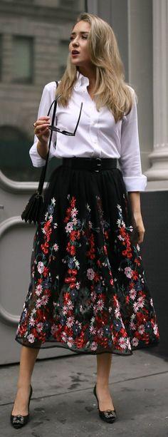 The most versatile midi skirt + the best white button-down // black floral embroidered midi skirt with waist belt, non-iron white button down, black manolo blahnik hangisi pumps, saint laurent shoulder bag, oversized cat eye sunglasses {Maje, ysl, uniqlo,