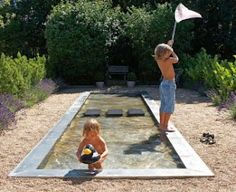 I want for me ! a littlt cool down, dont need to swim, even a little table & chairs for a friend & me to enjoy a tall ice tea & a few laughs on a warm day with our feet cooling us downin the water ! - shallow backyard water feature for kids