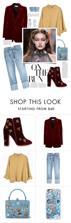 """""""On The Run"""" by northernstylist on Polyvore featuring Aquazzura, Yves Saint Laurent, Current/Elliott, Alexander McQueen, Anja, Casetify and Marc Jacobs"""