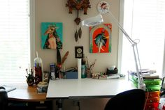 Interior, Creative Work Space Expressing the Work of Art: Small And Simple Workspace