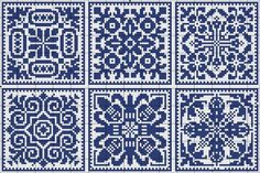 More square tiles - Chart for cross stitch or filet crochet. Filet Crochet, Crochet Chart, Cross Stitch Charts, Cross Stitch Designs, Cross Stitch Patterns, Cross Stitching, Cross Stitch Embroidery, Embroidery Patterns, Knitting Charts