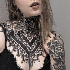 Chest Neck Tattoo, Tatoo Neck, Full Neck Tattoos, Full Chest Tattoos, Throat Tattoo, Neck Tattoos Women, Full Tattoo, Chest Tattoos For Women, Chest Piece Tattoos