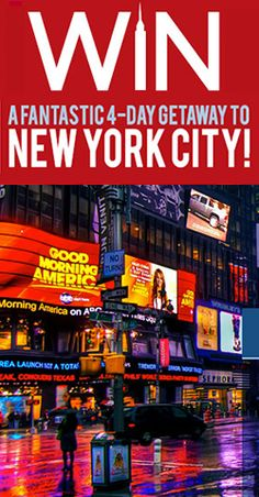 Win a Getaway to New York City Free Stuff, New Day, New York City, Things I Want, March, Eggs, Healthy Recipes, America, Explore