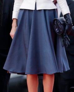 Felipe Varela cornflower blue full circle silk skirt. Debuted Nov 2014