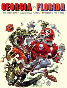 The Florida Gator versus the Georgia Bulldog. -- Can't wait to be there for the game. Go Dawgs! Fla Gators, Florida Gators Football, Gator Football, Football Rules, Football Images, Football Stuff, Football Helmets, Georgia Bulldogs Football, Jack Davis