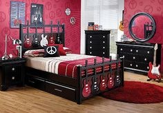 Our oldest son wants that bed, i think that the other two are going to say the same. In this house everybody loves guitars.