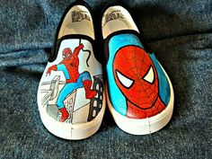 Hand-painted Spiderman on Vans shoes Hand-painted spiderman shoes. I have a little boy who'd nev Spiderman Craft, Vans Shoes Fashion, Avengers Outfits, Trendy Kids, Shoe Art, Painted Shoes, Dream Shoes, Custom Shoes, Boys Shoes