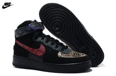 Mens Nike Air Force One HI Comfort PRM Year of Snake Shoes Black Purple Red  555107 27cfb575d7f