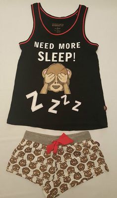 PRIMARK LADIES MONKEY EMOJI VEST T SHIRT & SHORTS PYJAMA SET PJ'S PYJAMAS #PrimarkBRAVADOEMOJILICENSED #PyjamaSetsVESTSHORTSSET #Everyday