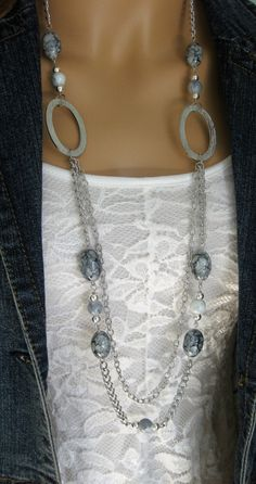 Long Grey Chunky Beaded Necklace Multi Strand by RalstonOriginals