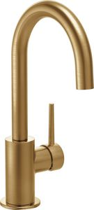Delta Faucet 1-Hole Deck Mount Bar Faucet with Single Lever Handle in Champagne Bronze D1959LFCZ