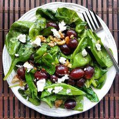 goats, food, spinach, eat, recip, walnuts, salads, grape salad, goat cheese