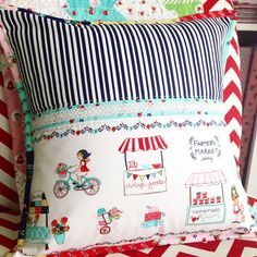 Pillow with Tasha Noel' fabric