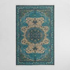 5'x8' Blue Persian Style Print Jute Soha Area Rug - v1